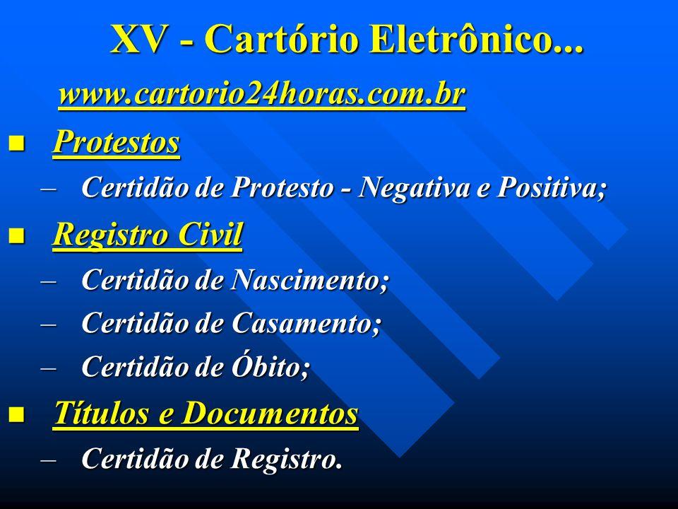 XV - Cartório Eletrônico... www.cartorio24horas.com.br www.cartorio24horas.com.br Protestos Protestos –Certidão de Protesto - Negativa e Positiva; Reg