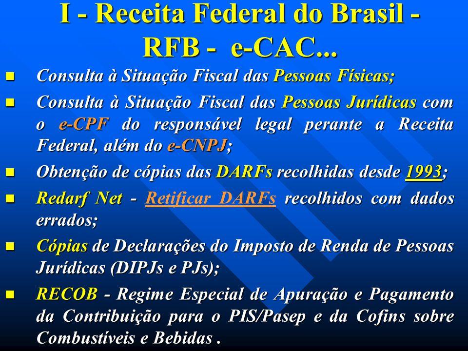 I - Receita Federal do Brasil - RFB - e-CAC... Consulta à Situação Fiscal das Pessoas Físicas; Consulta à Situação Fiscal das Pessoas Físicas; Consult