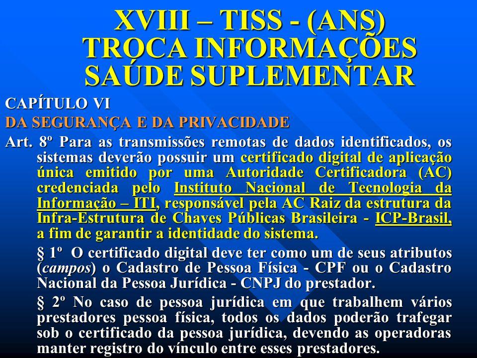 XVIII – TISS - (ANS) TROCA INFORMAÇÕES SAÚDE SUPLEMENTAR CAPÍTULO VI DA SEGURANÇA E DA PRIVACIDADE Art. 8º Para as transmissões remotas de dados ident