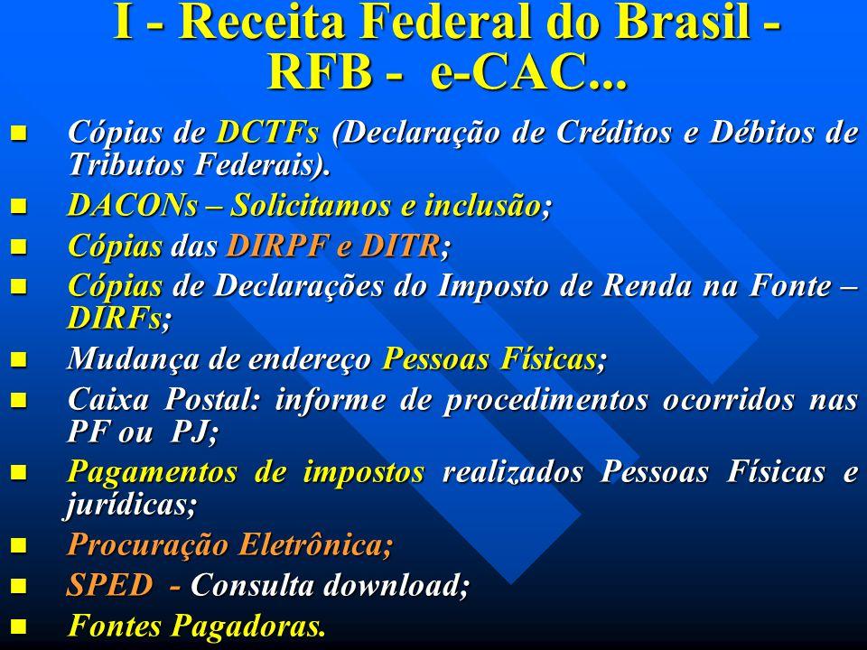 I - Receita Federal do Brasil - RFB - e-CAC... Cópias de DCTFs (Declaração de Créditos e Débitos de Tributos Federais). Cópias de DCTFs (Declaração de