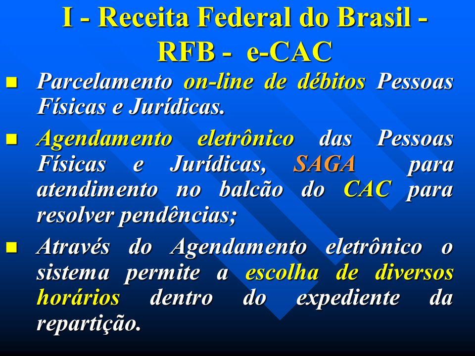 I - Receita Federal do Brasil - RFB - e-CAC Parcelamento on-line de débitos Pessoas Físicas e Jurídicas. Parcelamento on-line de débitos Pessoas Físic