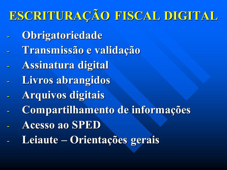 ESCRITURAÇÃO FISCAL DIGITAL - Obrigatoriedade - Transmissão e validação - Assinatura digital - Livros abrangidos - Arquivos digitais - Compartilhament
