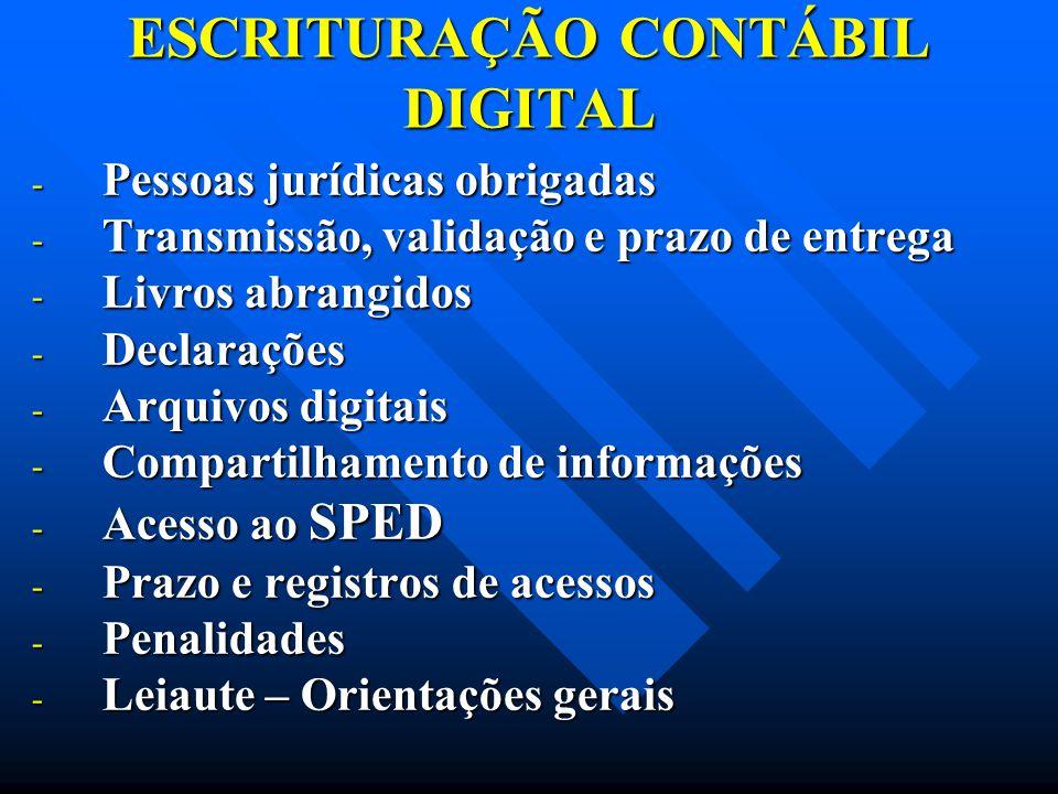ESCRITURAÇÃO CONTÁBIL DIGITAL - Pessoas jurídicas obrigadas - Transmissão, validação e prazo de entrega - Livros abrangidos - Declarações - Arquivos d