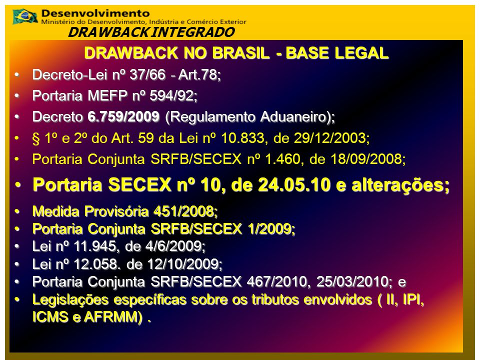 DRAWBACK NO BRASIL - BASE LEGAL Decreto-Lei nº 37/66 - Art.78;Decreto-Lei nº 37/66 - Art.78; Portaria MEFP nº 594/92;Portaria MEFP nº 594/92; Decreto 6.759/2009 (Regulamento Aduaneiro);Decreto 6.759/2009 (Regulamento Aduaneiro); § 1º e 2º do Art.