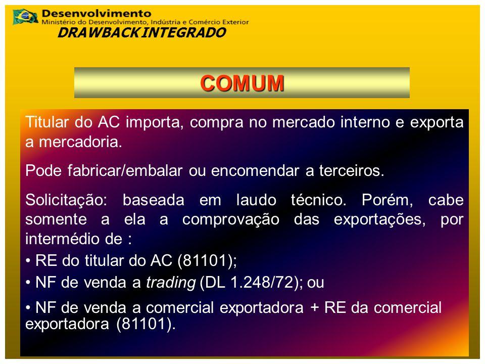 Titular do AC importa, compra no mercado interno e exporta a mercadoria.