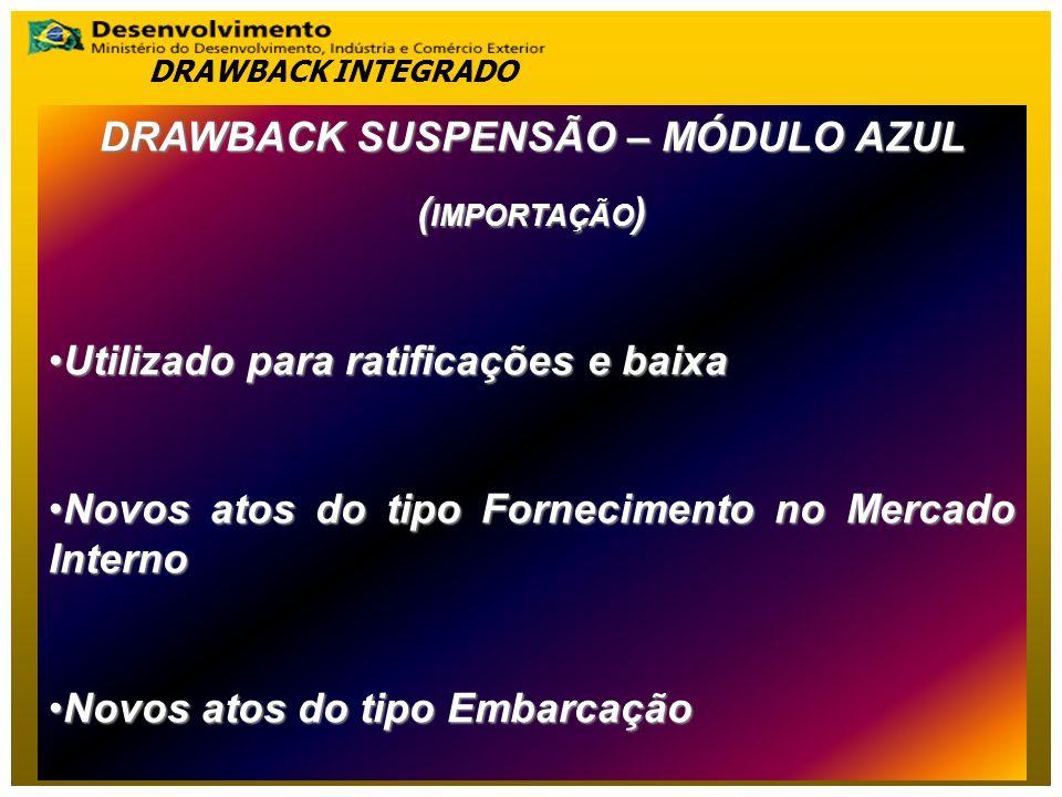 DRAWBACK SUSPENSÃO – MÓDULO AZUL ( IMPORTAÇÃO ) Utilizado para ratificações e baixaUtilizado para ratificações e baixa Novos atos do tipo Fornecimento no Mercado InternoNovos atos do tipo Fornecimento no Mercado Interno Novos atos do tipo EmbarcaçãoNovos atos do tipo Embarcação DRAWBACK INTEGRADO