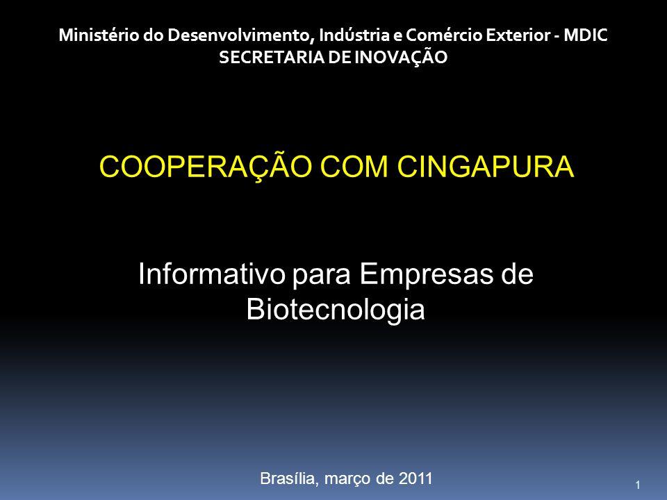 1 Ministério do Desenvolvimento, Indústria e Comércio Exterior - MDIC SECRETARIA DE INOVAÇÃO COOPERAÇÃO COM CINGAPURA Informativo para Empresas de Bio