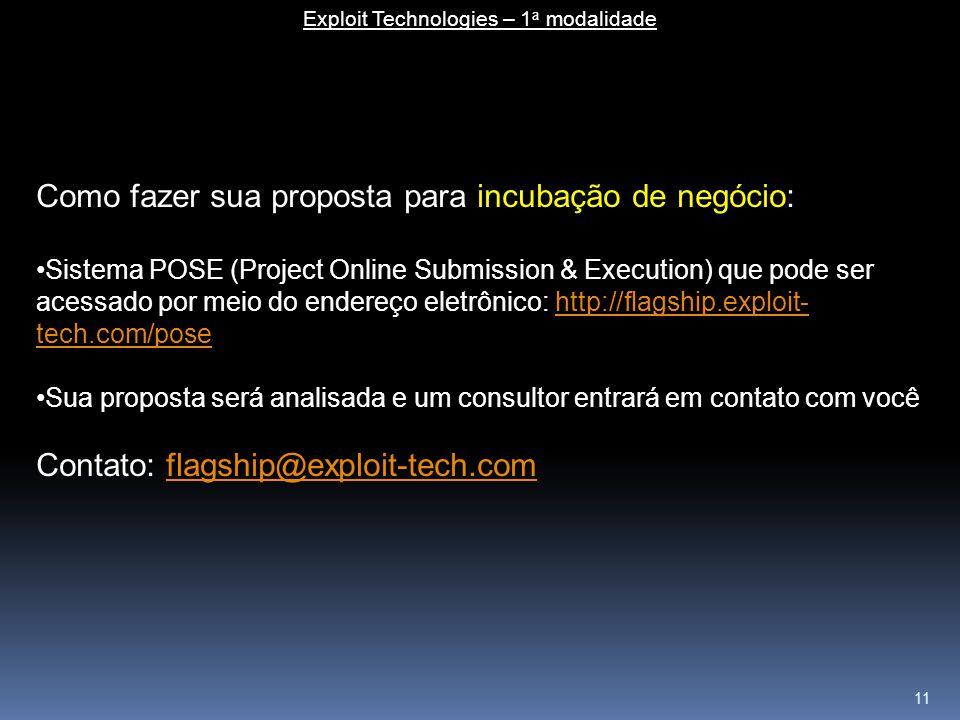 11 Exploit Technologies – 1 a modalidade Como fazer sua proposta para incubação de negócio: Sistema POSE (Project Online Submission & Execution) que p