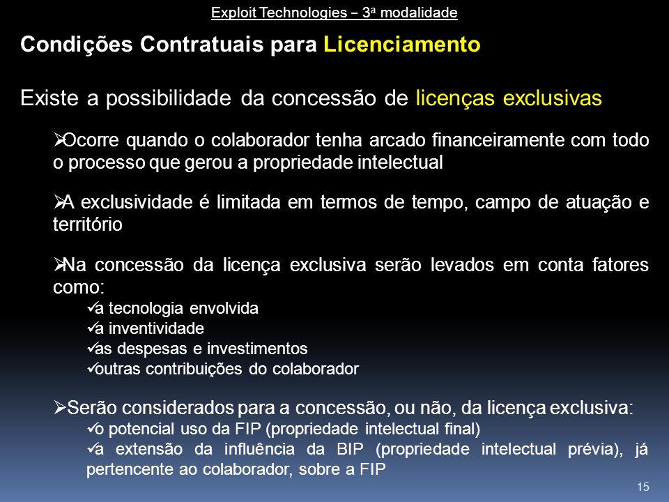 15 Condições Contratuais para Licenciamento Existe a possibilidade da concessão de licenças exclusivas  Ocorre quando o colaborador tenha arcado fina