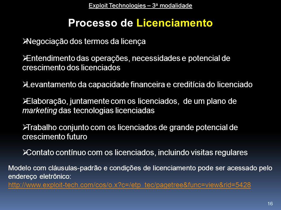 16 Processo de Licenciamento  Negociação dos termos da licença  Entendimento das operações, necessidades e potencial de crescimento dos licenciados