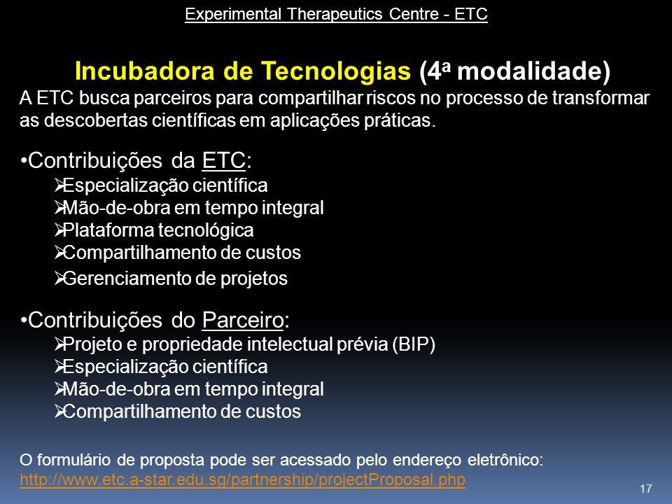 17 Experimental Therapeutics Centre - ETC Incubadora de Tecnologias (4 a modalidade) A ETC busca parceiros para compartilhar riscos no processo de tra