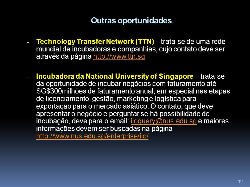 18 Outras oportunidades - Technology Transfer Network (TTN) – trata-se de uma rede mundial de incubadoras e companhias, cujo contato deve ser através