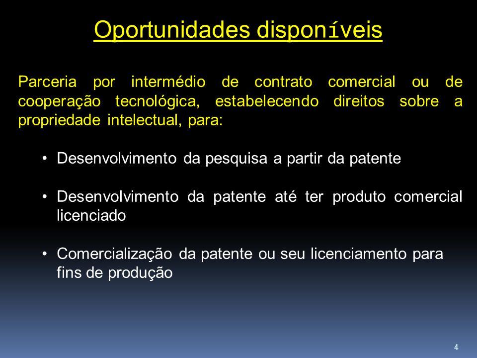4 Oportunidades dispon í veis Parceria por intermédio de contrato comercial ou de cooperação tecnológica, estabelecendo direitos sobre a propriedade i