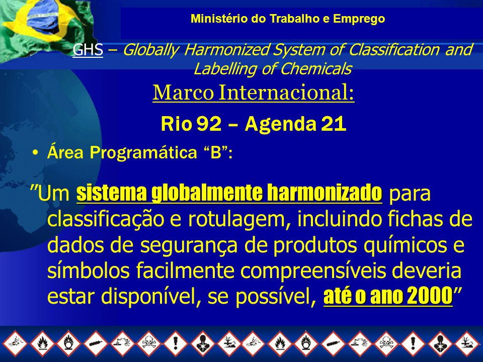 Ministério do Trabalho e Emprego GHS – Globally Harmonized System of Classification and Labelling of Chemicals Marco Internacional: Rio 92 – Agenda 21