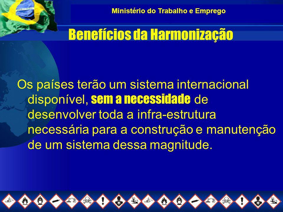 Ministério do Trabalho e Emprego Benefícios da Harmonização Os países terão um sistema internacional disponível, sem a necessidade de desenvolver toda a infra-estrutura necessária para a construção e manutenção de um sistema dessa magnitude.