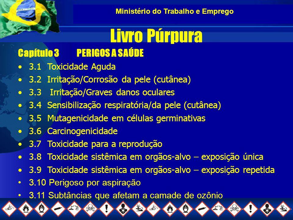 Ministério do Trabalho e Emprego Livro Púrpura Capítulo 3PERIGOS A SAÚDE 3.1Toxicidade Aguda 3.2Irritação/Corrosão da pele (cutânea) 3.3 Irritação/Graves danos oculares 3.4Sensibilização respiratória/da pele (cutânea) 3.5Mutagenicidade em células germinativas 3.6Carcinogenicidade 3.7Toxicidade para a reprodução 3.8Toxicidade sistêmica em orgãos-alvo – exposição única 3.9Toxicidade sistêmica em orgãos-alvo – exposição repetida 3.10 Perigoso por aspiração 3.11 Subtâncias que afetam a camade de ozônio