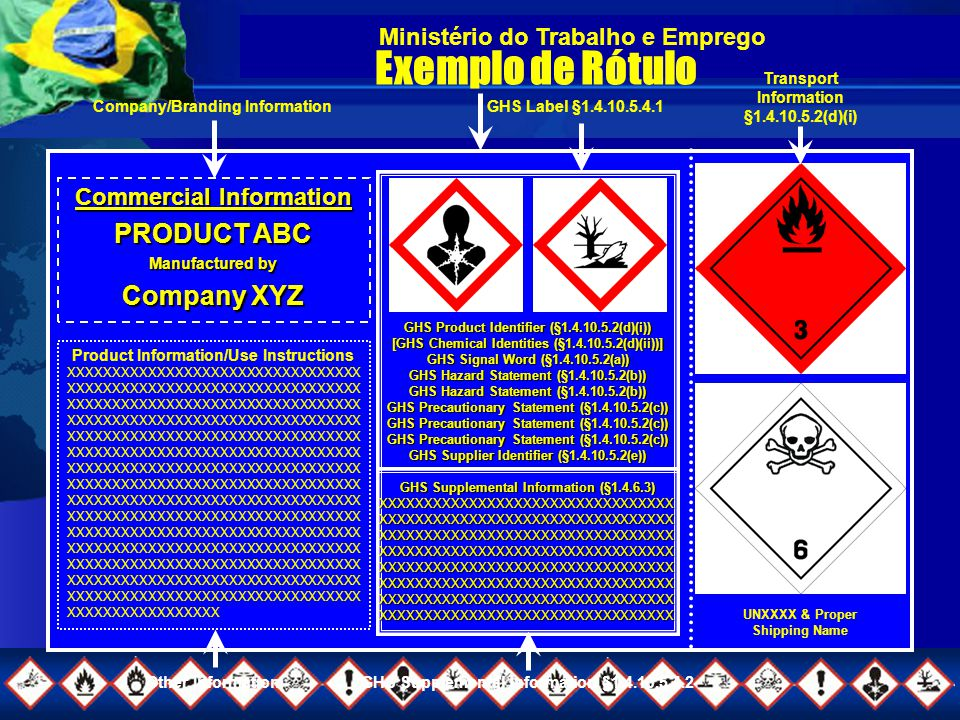 Ministério do Trabalho e Emprego Exemplo de Rótulo UNXXXX & Proper Shipping Name GHS Product Identifier (§1.4.10.5.2(d)(i)) [GHS Chemical Identities (