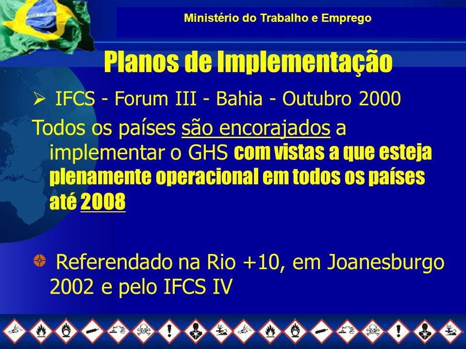 Ministério do Trabalho e Emprego Planos de Implementação  IFCS - Forum III - Bahia - Outubro 2000 Todos os países são encorajados a implementar o GHS com vistas a que esteja plenamente operacional em todos os países até 2008 Referendado na Rio +10, em Joanesburgo 2002 e pelo IFCS IV