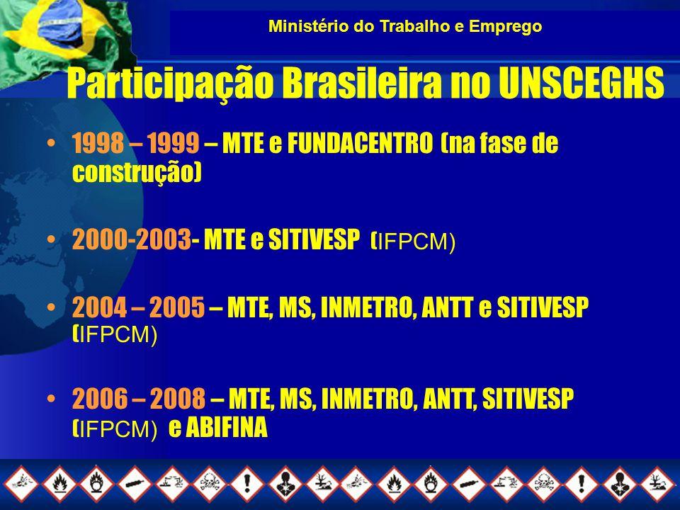 Ministério do Trabalho e Emprego Participação Brasileira no UNSCEGHS 1998 – 1999 – MTE e FUNDACENTRO (na fase de construção) 2000-2003- MTE e SITIVESP ( IFPCM) 2004 – 2005 – MTE, MS, INMETRO, ANTT e SITIVESP ( IFPCM) 2006 – 2008 – MTE, MS, INMETRO, ANTT, SITIVESP ( IFPCM) e ABIFINA