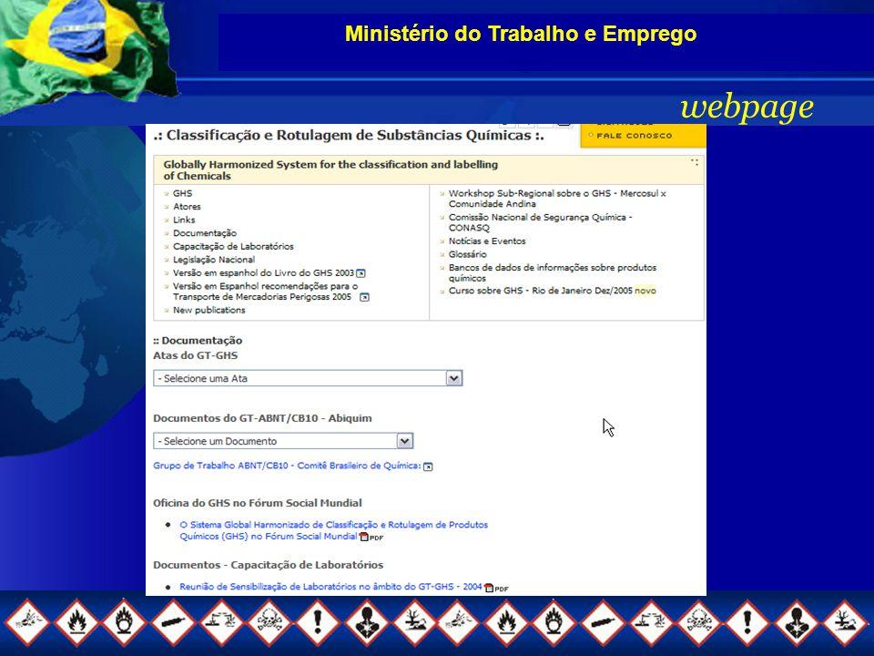 Ministério do Trabalho e Emprego webpage