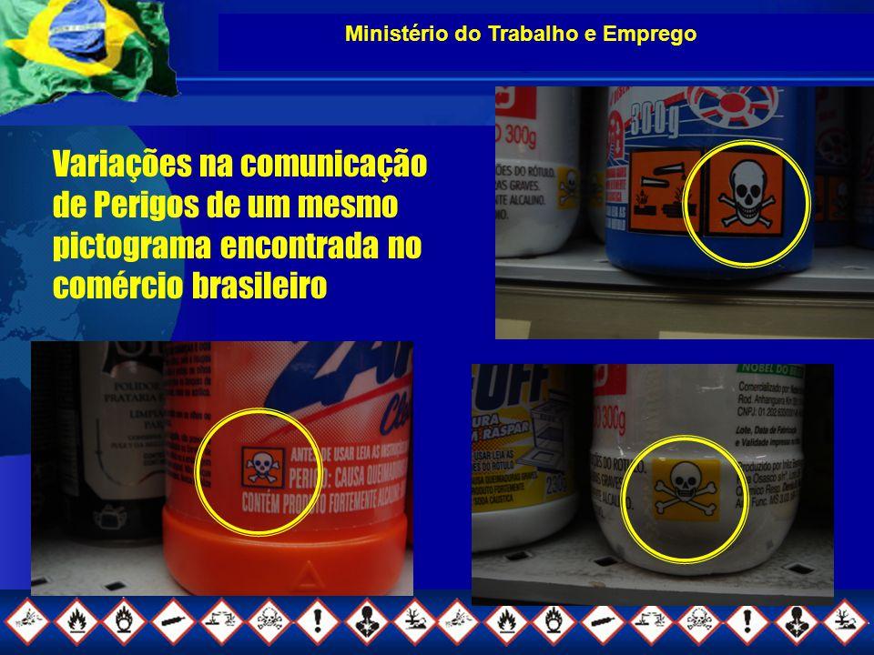 Ministério do Trabalho e Emprego Variações na comunicação de Perigos de um mesmo pictograma encontrada no comércio brasileiro