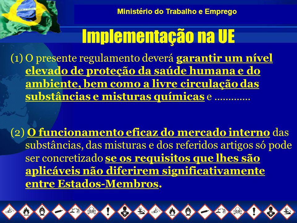 Ministério do Trabalho e Emprego Implementação na UE (1)O presente regulamento deverá garantir um nível elevado de proteção da saúde humana e do ambiente, bem como a livre circulação das substâncias e misturas químicas e.............