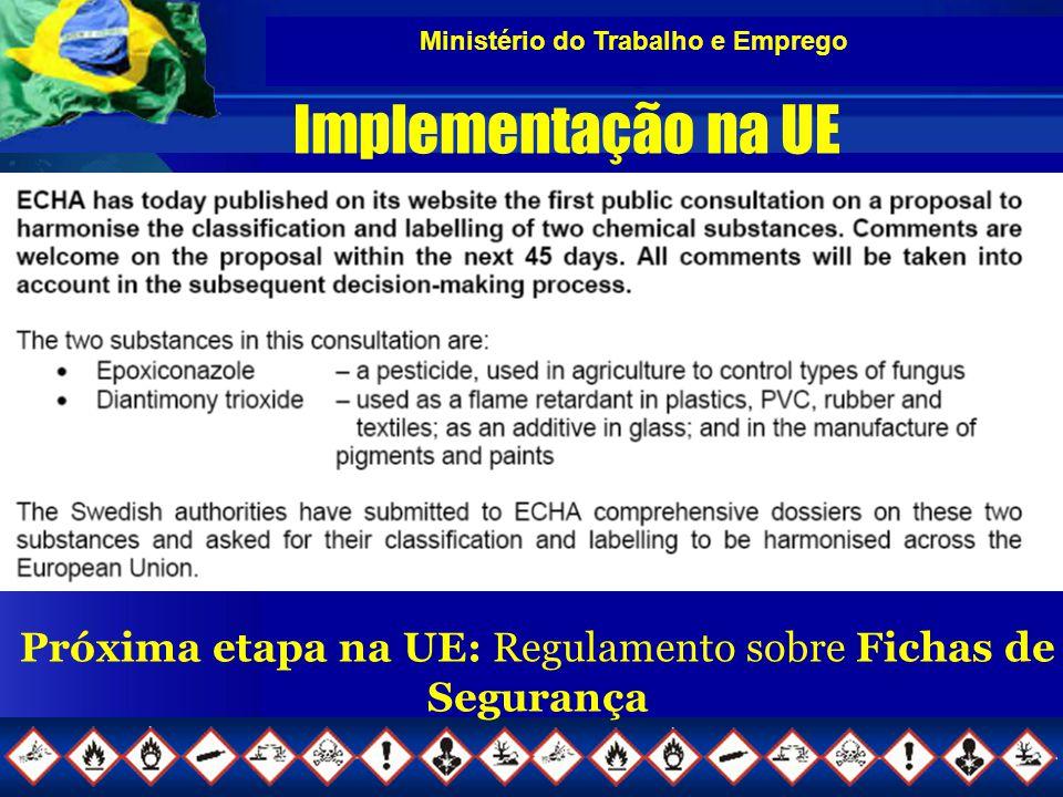 Implementação na UE Próxima etapa na UE: Regulamento sobre Fichas de Segurança
