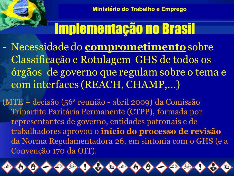 Ministério do Trabalho e Emprego Implementação no Brasil -Necessidade do comprometimento sobre Classificação e Rotulagem GHS de todos os órgãos de governo que regulam sobre o tema e com interfaces (REACH, CHAMP,...) (MTE – decisão (56 a reunião - abril 2009) da Comissão Tripartite Paritária Permanente (CTPP), formada por representantes de governo, entidades patronais e de trabalhadores aprovou o início do processo de revisão da Norma Regulamentadora 26, em sintonia com o GHS (e a Convenção 170 da OIT).