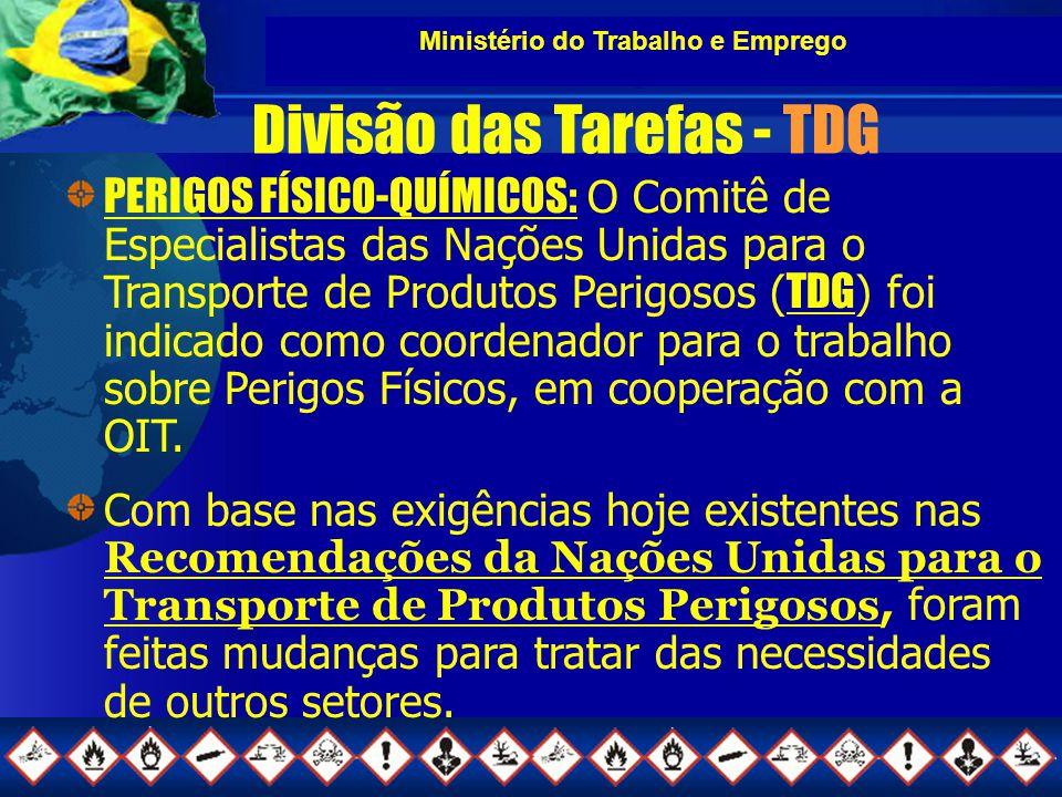 Ministério do Trabalho e Emprego Divisão das Tarefas - TDG PERIGOS FÍSICO-QUÍMICOS: O Comitê de Especialistas das Nações Unidas para o Transporte de Produtos Perigosos ( TDG ) foi indicado como coordenador para o trabalho sobre Perigos Físicos, em cooperação com a OIT.