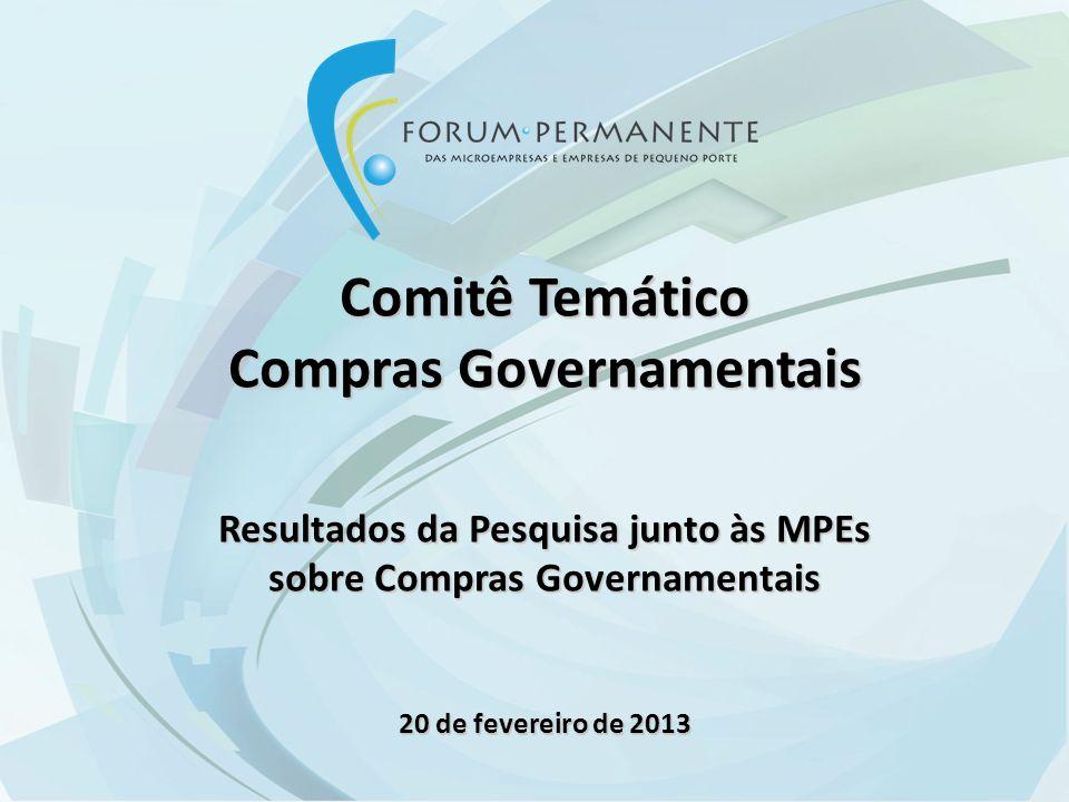 Comitê Temático Compras Governamentais Resultados da Pesquisa junto às MPEs sobre Compras Governamentais 20 de fevereiro de 2013