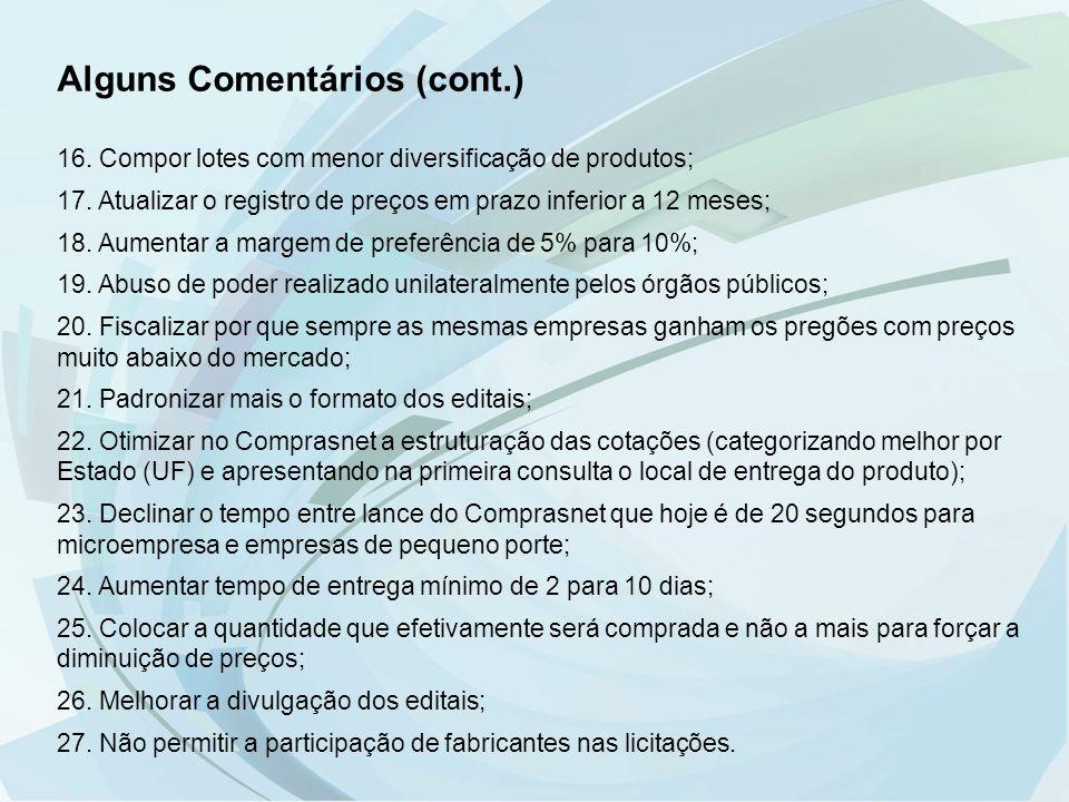 Alguns Comentários (cont.) 16. Compor lotes com menor diversificação de produtos; 17. Atualizar o registro de preços em prazo inferior a 12 meses; 18.