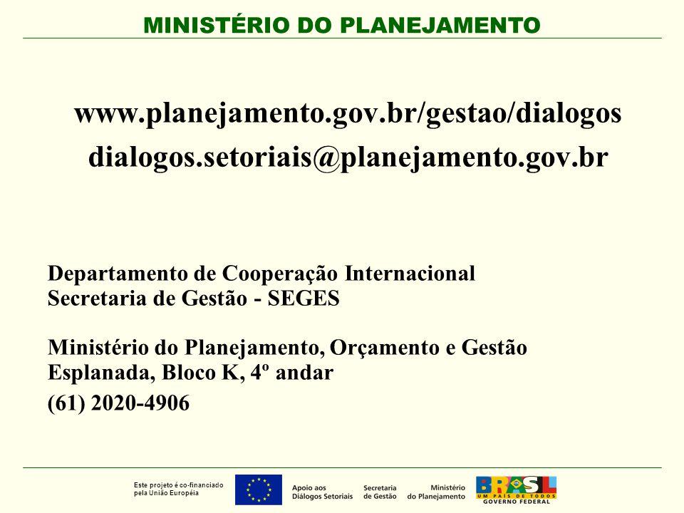 MINISTÉRIO DO PLANEJAMENTO Este projeto é co-financiado pela União Européia www.planejamento.gov.br/gestao/dialogos dialogos.setoriais@planejamento.go