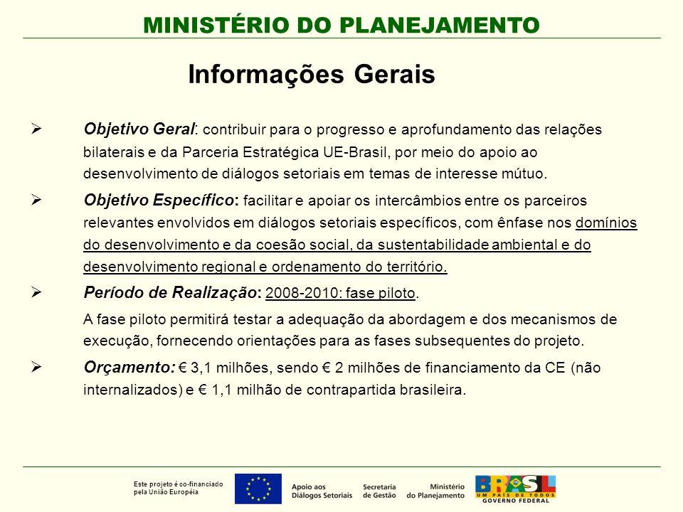 MINISTÉRIO DO PLANEJAMENTO Este projeto é co-financiado pela União Européia Informações Gerais  Objetivo Geral: contribuir para o progresso e aprofun