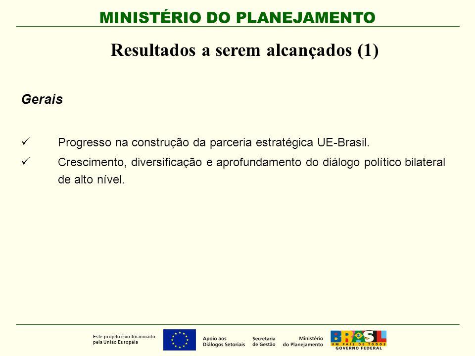 MINISTÉRIO DO PLANEJAMENTO Este projeto é co-financiado pela União Européia Resultados a serem alcançados (1) Gerais Progresso na construção da parcer