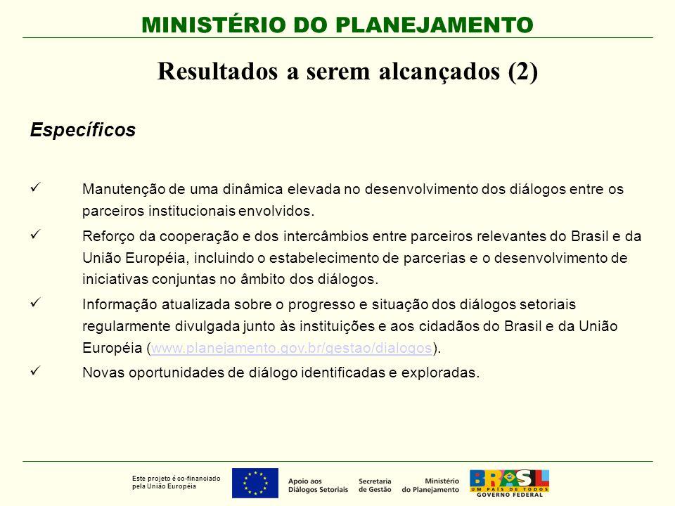 MINISTÉRIO DO PLANEJAMENTO Este projeto é co-financiado pela União Européia Resultados a serem alcançados (2) Específicos Manutenção de uma dinâmica e
