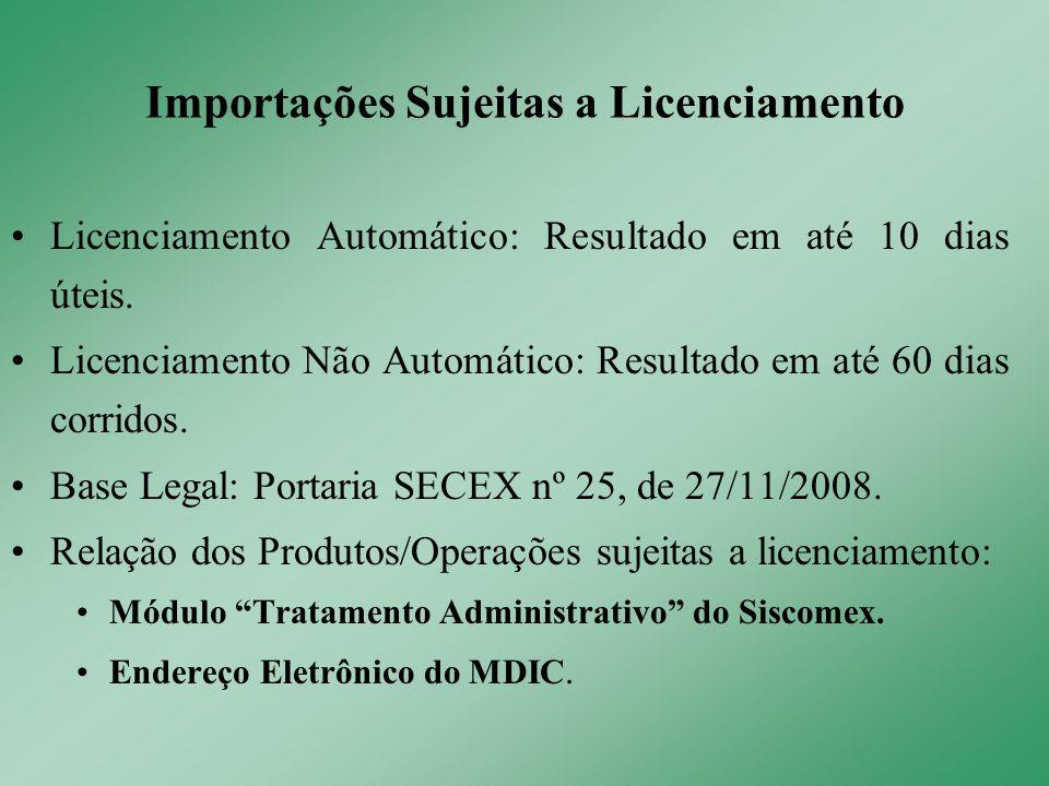 Licenciamento Automático: Resultado em até 10 dias úteis. Licenciamento Não Automático: Resultado em até 60 dias corridos. Base Legal: Portaria SECEX