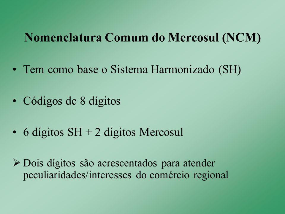 Tem como base o Sistema Harmonizado (SH) Códigos de 8 dígitos 6 dígitos SH + 2 dígitos Mercosul  Dois dígitos são acrescentados para atender peculiaridades/interesses do comércio regional Nomenclatura Comum do Mercosul (NCM)