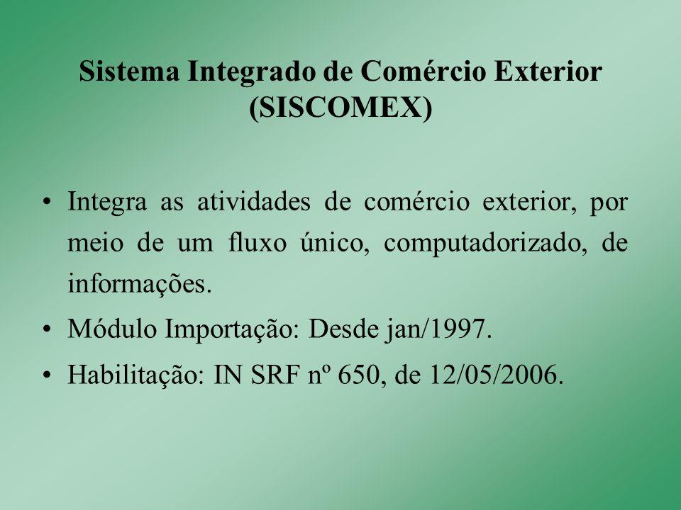 Integra as atividades de comércio exterior, por meio de um fluxo único, computadorizado, de informações. Módulo Importação: Desde jan/1997. Habilitaçã
