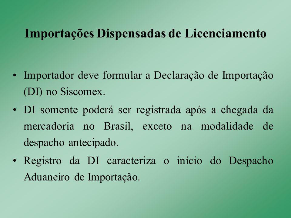 Importador deve formular a Declaração de Importação (DI) no Siscomex. DI somente poderá ser registrada após a chegada da mercadoria no Brasil, exceto