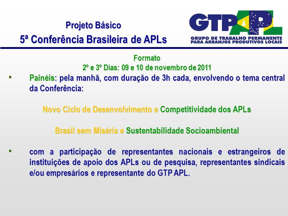 Projeto Básico 5ª Conferência Brasileira de APLs Formato 2º e 3º Dias: 09 e 10 de novembro de 2011 Painéis: pela manhã, com duração de 3h cada, envolvendo o tema central da Conferência: Painéis: pela manhã, com duração de 3h cada, envolvendo o tema central da Conferência: Novo Ciclo de Desenvolvimento e Competitividade dos APLs Brasil sem Miséria e Sustentabilidade Socioambiental com a participação de representantes nacionais e estrangeiros de instituições de apoio dos APLs ou de pesquisa, representantes sindicais e/ou empresários e representante do GTP APL.