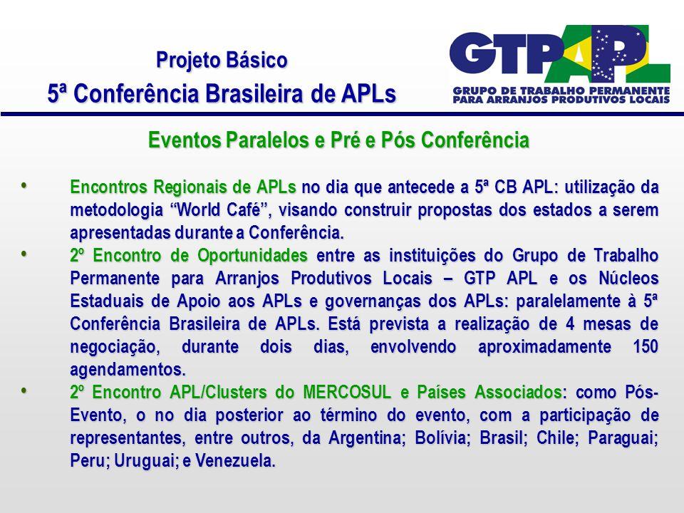 Projeto Básico 5ª Conferência Brasileira de APLs Eventos Paralelos e Pré e Pós Conferência Encontros Regionais de APLs no dia que antecede a 5ª CB APL: utilização da metodologia World Café , visando construir propostas dos estados a serem apresentadas durante a Conferência.