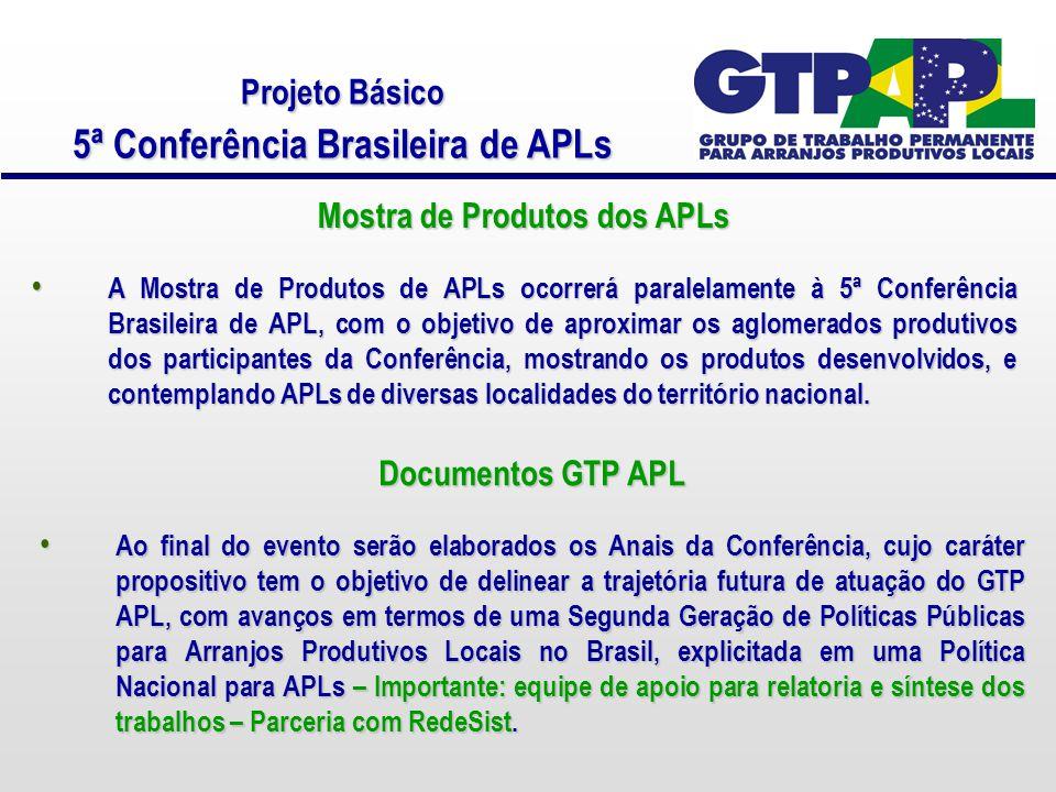 Projeto Básico 5ª Conferência Brasileira de APLs Mostra de Produtos dos APLs A Mostra de Produtos de APLs ocorrerá paralelamente à 5ª Conferência Brasileira de APL, com o objetivo de aproximar os aglomerados produtivos dos participantes da Conferência, mostrando os produtos desenvolvidos, e contemplando APLs de diversas localidades do território nacional.