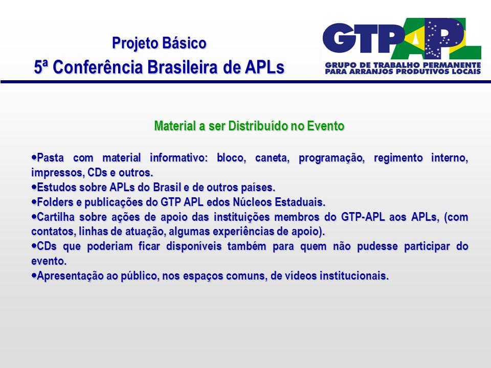 Projeto Básico 5ª Conferência Brasileira de APLs Material a ser Distribuído no Evento  Pasta com material informativo: bloco, caneta, programação, regimento interno, impressos, CDs e outros.