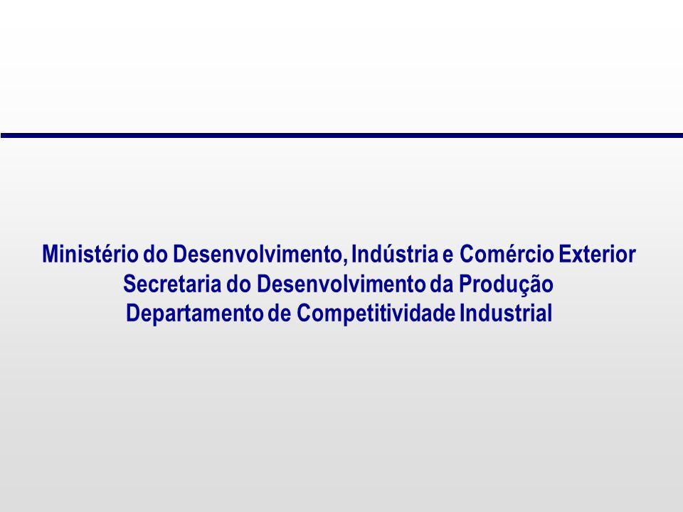 Ministério do Desenvolvimento, Indústria e Comércio Exterior Secretaria do Desenvolvimento da Produção Departamento de Competitividade Industrial
