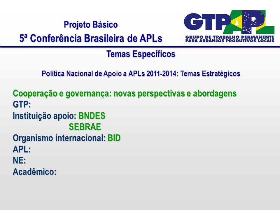 Projeto Básico 5ª Conferência Brasileira de APLs Temas Específicos Política Nacional de Apoio a APLs 2011-2014: Temas Estratégicos Cooperação e governança: novas perspectivas e abordagens GTP: Instituição apoio: BNDES SEBRAE Organismo internacional: BID APL:NE:Acadêmico: