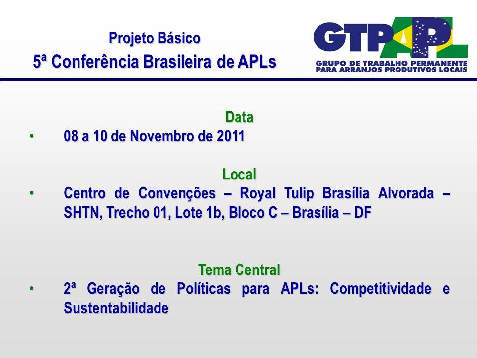 Projeto Básico 5ª Conferência Brasileira de APLs Data 08 a 10 de Novembro de 2011 08 a 10 de Novembro de 2011Local Centro de Convenções – Royal Tulip Brasília Alvorada – SHTN, Trecho 01, Lote 1b, Bloco C – Brasília – DF Centro de Convenções – Royal Tulip Brasília Alvorada – SHTN, Trecho 01, Lote 1b, Bloco C – Brasília – DF Tema Central 2ª Geração de Políticas para APLs: Competitividade e Sustentabilidade 2ª Geração de Políticas para APLs: Competitividade e Sustentabilidade
