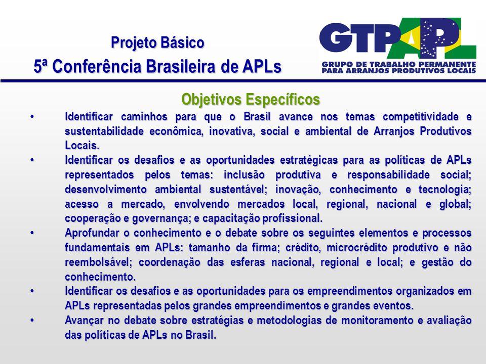 Projeto Básico 5ª Conferência Brasileira de APLs Objetivos Específicos Identificar caminhos para que o Brasil avance nos temas competitividade e sustentabilidade econômica, inovativa, social e ambiental de Arranjos Produtivos Locais.