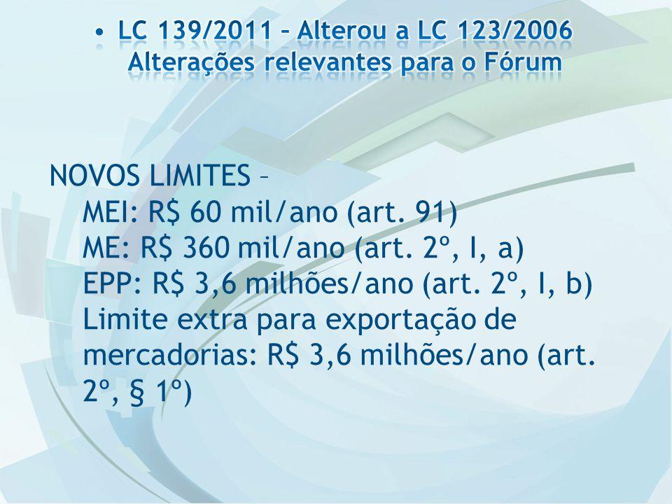 NOVOS LIMITES – MEI: R$ 60 mil/ano (art. 91) ME: R$ 360 mil/ano (art. 2º, I, a) EPP: R$ 3,6 milhões/ano (art. 2º, I, b) Limite extra para exportação d