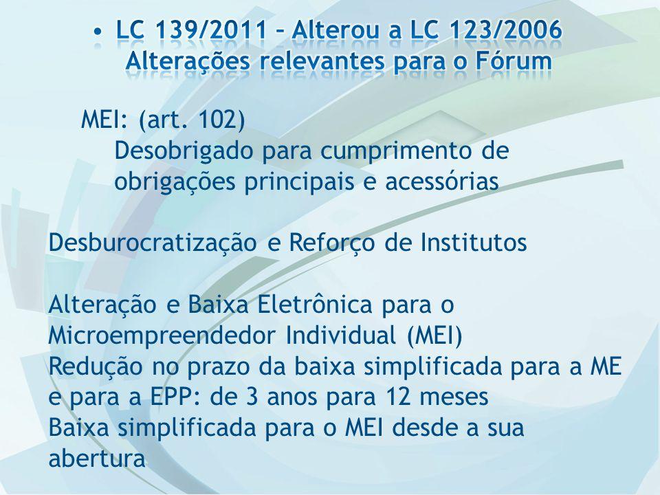 MEI: (art. 102) Desobrigado para cumprimento de obrigações principais e acessórias Desburocratização e Reforço de Institutos Alteração e Baixa Eletrôn