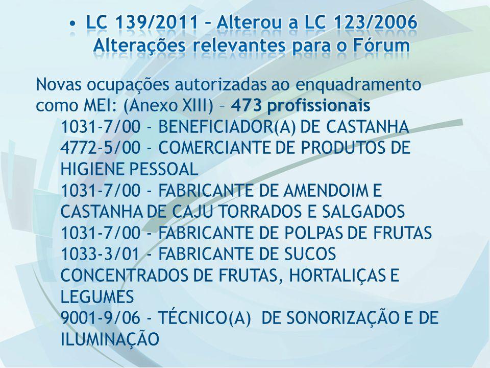 Novas ocupações autorizadas ao enquadramento como MEI: (Anexo XIII) – 473 profissionais 1031-7/00 - BENEFICIADOR(A) DE CASTANHA 4772-5/00 - COMERCIANT